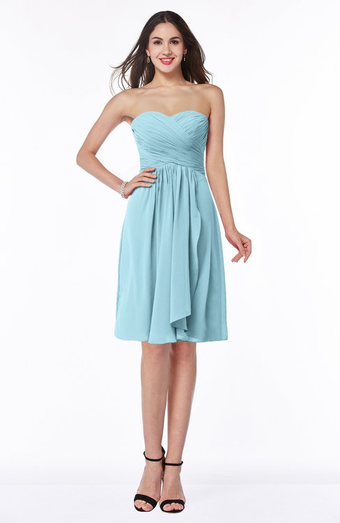 ColsBM Laila Aqua Modern A-line Strapless Zip up Chiffon Pleated Plus Size Bridesmaid Dresses