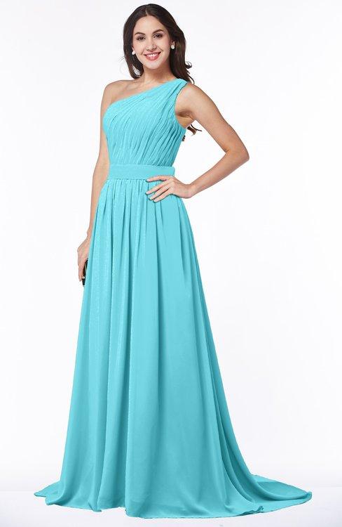 ColsBM Kiana Turquoise Gorgeous Zipper Chiffon Sweep Train Pleated Evening Dresses
