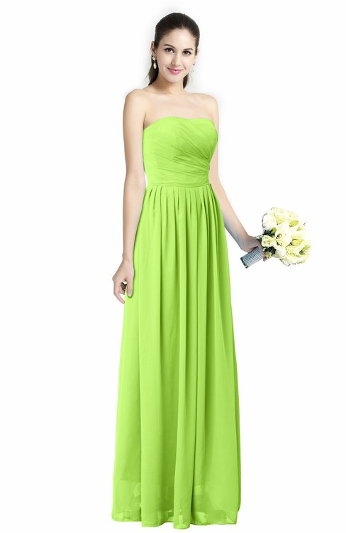 Bright green cinderella a line strapless zip up floor for Bright colored wedding dresses
