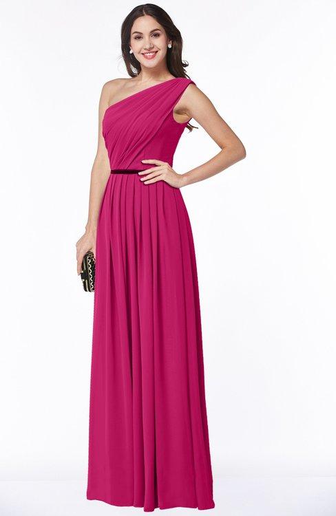 ColsBM Tiana Beetroot Purple Traditional A-line One Shoulder Chiffon Floor Length Plus Size Bridesmaid Dresses