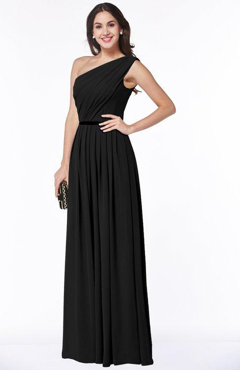 ColsBM Tiana Black Traditional A-line One Shoulder Chiffon Floor Length Plus Size Bridesmaid Dresses