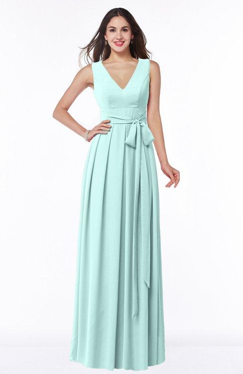 ColsBM Esther Blue Glass Traditional V-neck Sleeveless Zip up Chiffon Plus Size Bridesmaid Dresses