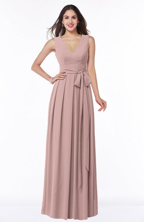 ColsBM Esther Blush Pink Traditional V-neck Sleeveless Zip up Chiffon Plus Size Bridesmaid Dresses
