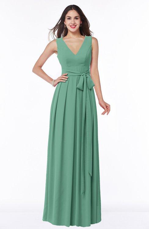 ColsBM Esther Bristol Blue Traditional V-neck Sleeveless Zip up Chiffon Plus Size Bridesmaid Dresses