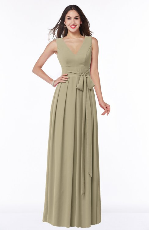 ColsBM Esther Candied Ginger Traditional V-neck Sleeveless Zip up Chiffon Plus Size Bridesmaid Dresses