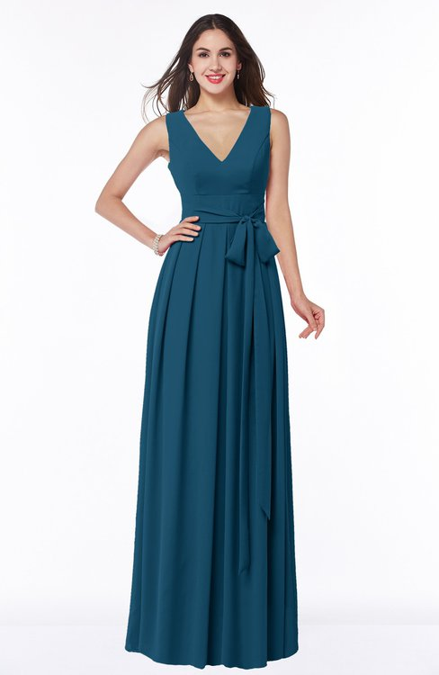 ColsBM Esther Moroccan Blue Traditional V-neck Sleeveless Zip up Chiffon Plus Size Bridesmaid Dresses