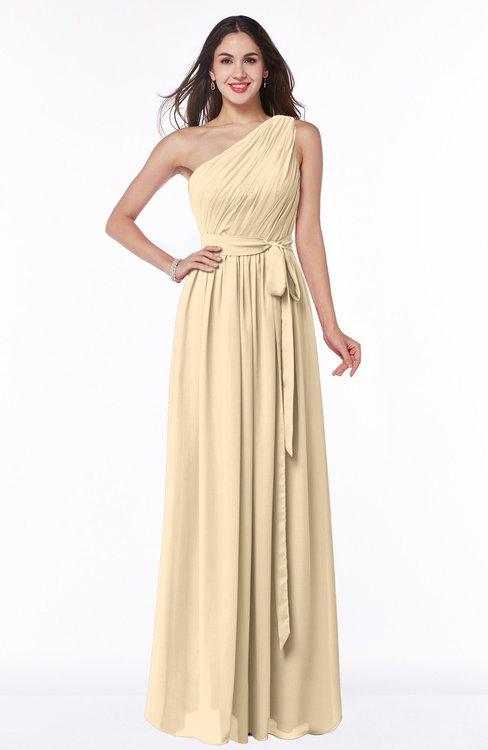 ColsBM Fiona Apricot Gelato Classic A-line Asymmetric Neckline Chiffon Floor Length Sash Plus Size Bridesmaid Dresses