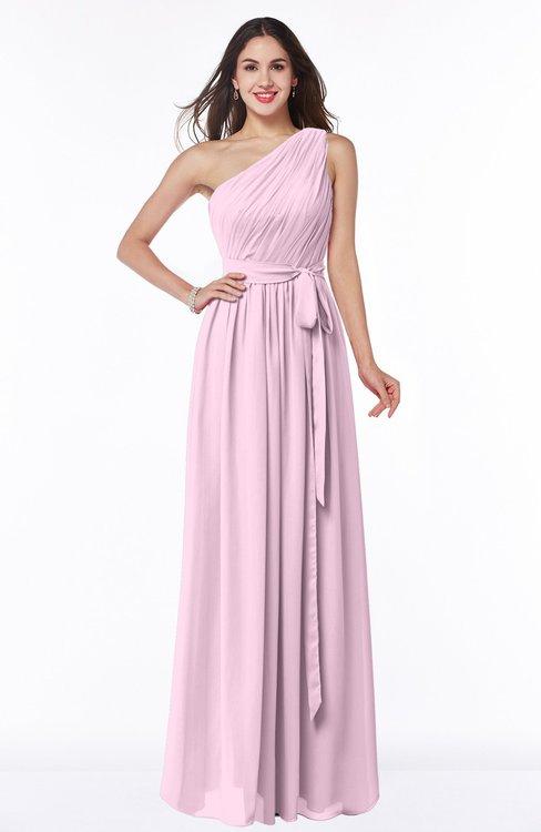 ColsBM Fiona Baby Pink Classic A-line Asymmetric Neckline Chiffon Floor Length Sash Plus Size Bridesmaid Dresses