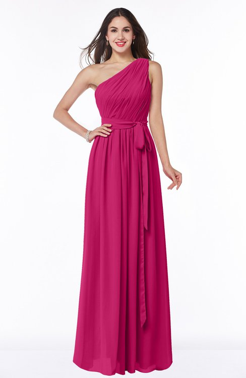 ColsBM Fiona Beetroot Purple Classic A-line Asymmetric Neckline Chiffon Floor Length Sash Plus Size Bridesmaid Dresses