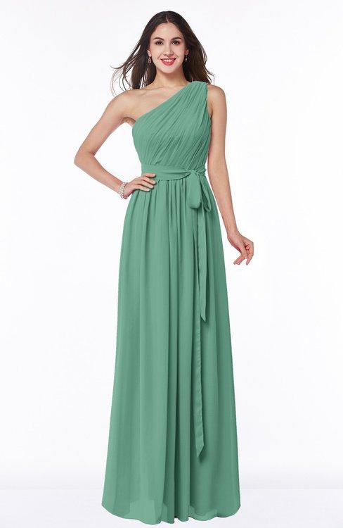 ColsBM Fiona Beryl Green Classic A-line Asymmetric Neckline Chiffon Floor Length Sash Plus Size Bridesmaid Dresses