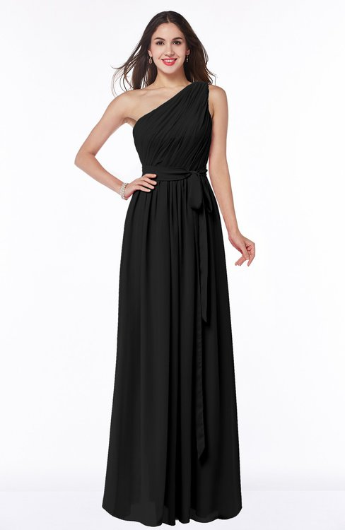 ColsBM Fiona Black Classic A-line Asymmetric Neckline Chiffon Floor Length Sash Plus Size Bridesmaid Dresses