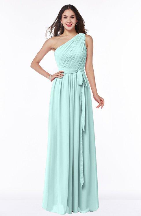 ColsBM Fiona Blue Glass Classic A-line Asymmetric Neckline Chiffon Floor Length Sash Plus Size Bridesmaid Dresses