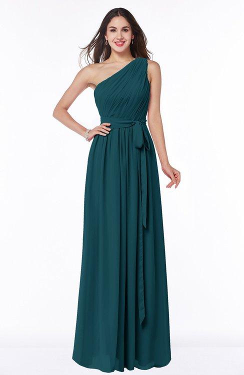 ColsBM Fiona Blue Green Classic A-line Asymmetric Neckline Chiffon Floor Length Sash Plus Size Bridesmaid Dresses