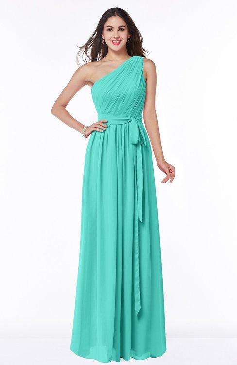 ColsBM Fiona Blue Turquoise Classic A-line Asymmetric Neckline Chiffon Floor Length Sash Plus Size Bridesmaid Dresses