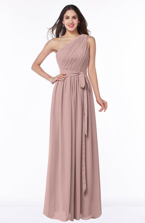 ColsBM Fiona Blush Pink Classic A-line Asymmetric Neckline Chiffon Floor Length Sash Plus Size Bridesmaid Dresses
