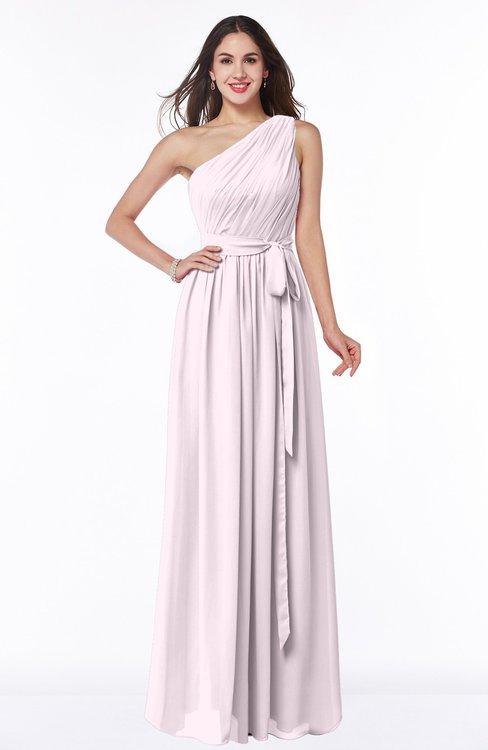 ColsBM Fiona Blush Classic A-line Asymmetric Neckline Chiffon Floor Length Sash Plus Size Bridesmaid Dresses