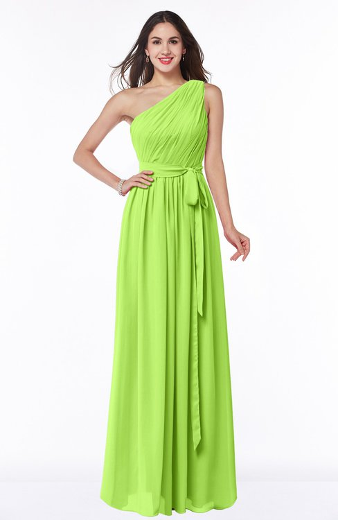 ColsBM Fiona Bright Green Classic A-line Asymmetric Neckline Chiffon Floor Length Sash Plus Size Bridesmaid Dresses
