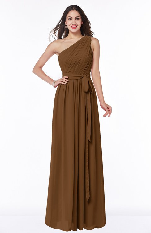 ColsBM Fiona Brown Classic A-line Asymmetric Neckline Chiffon Floor Length Sash Plus Size Bridesmaid Dresses