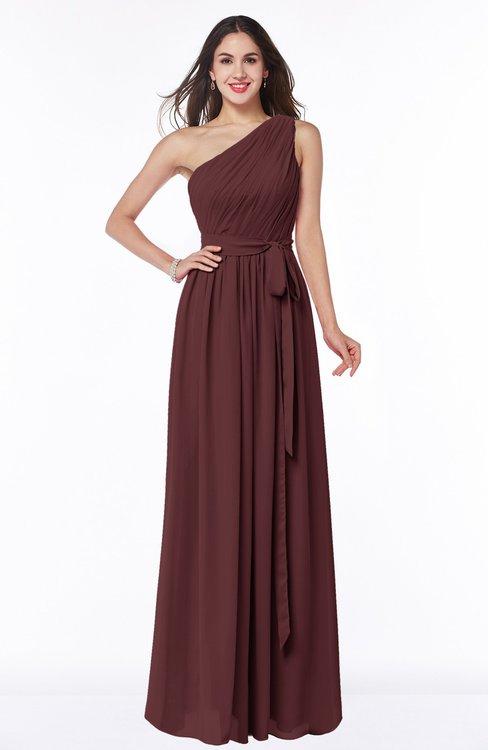 ColsBM Fiona Burgundy Classic A-line Asymmetric Neckline Chiffon Floor Length Sash Plus Size Bridesmaid Dresses