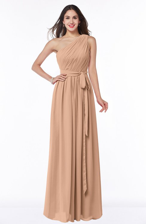 ColsBM Fiona Burnt Orange Classic A-line Asymmetric Neckline Chiffon Floor Length Sash Plus Size Bridesmaid Dresses