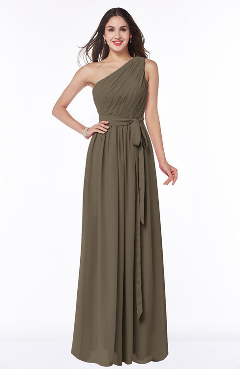 ColsBM Fiona Carafe Brown Classic A-line Asymmetric Neckline Chiffon Floor Length Sash Plus Size Bridesmaid Dresses