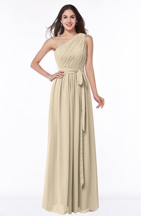 ColsBM Fiona Champagne Classic A-line Asymmetric Neckline Chiffon Floor Length Sash Plus Size Bridesmaid Dresses