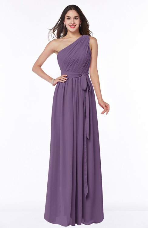 ColsBM Fiona Chinese Violet Classic A-line Asymmetric Neckline Chiffon Floor Length Sash Plus Size Bridesmaid Dresses