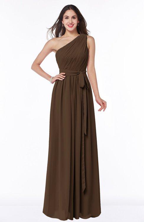 ColsBM Fiona Chocolate Brown Classic A-line Asymmetric Neckline Chiffon Floor Length Sash Plus Size Bridesmaid Dresses