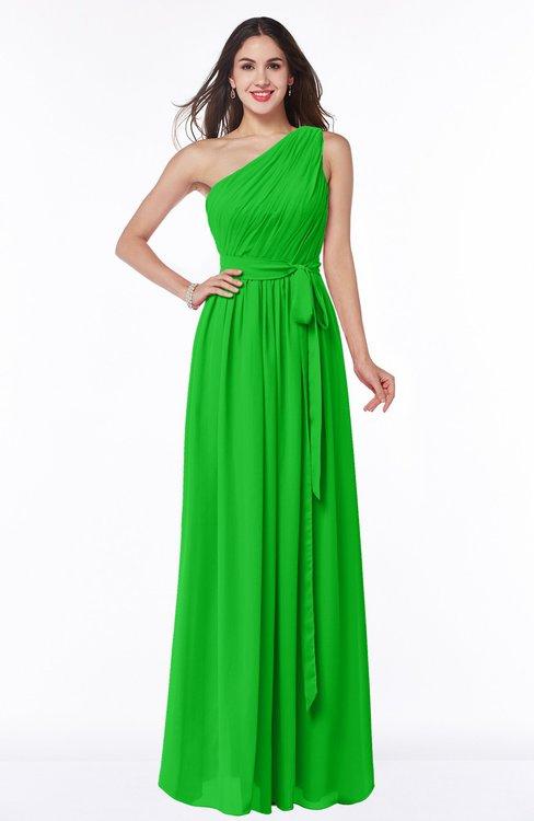 ColsBM Fiona Classic Green Classic A-line Asymmetric Neckline Chiffon Floor Length Sash Plus Size Bridesmaid Dresses