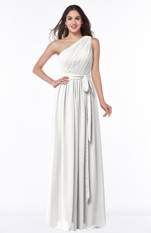 ColsBM Fiona Cloud White Classic A-line Asymmetric Neckline Chiffon Floor Length Sash Plus Size Bridesmaid Dresses