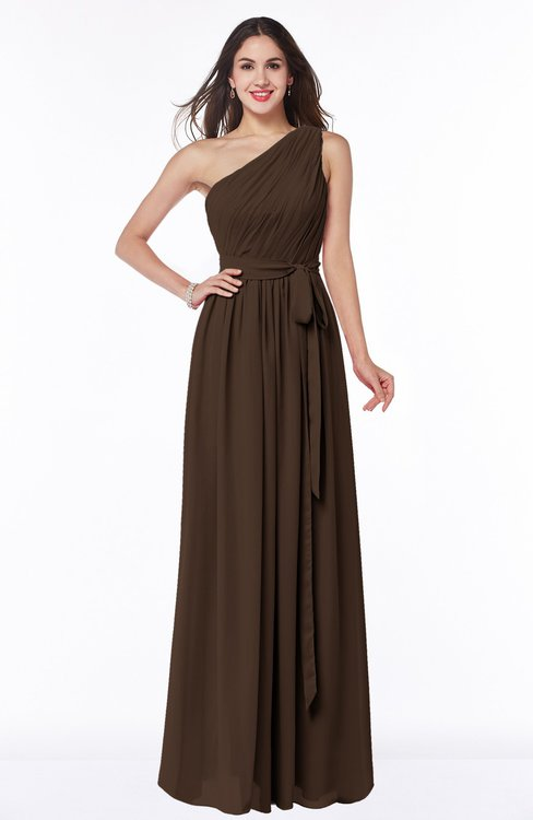ColsBM Fiona Copper Classic A-line Asymmetric Neckline Chiffon Floor Length Sash Plus Size Bridesmaid Dresses