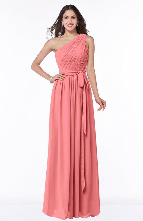 ColsBM Fiona Coral Classic A-line Asymmetric Neckline Chiffon Floor Length Sash Plus Size Bridesmaid Dresses