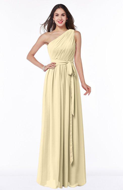 ColsBM Fiona Cornhusk Classic A-line Asymmetric Neckline Chiffon Floor Length Sash Plus Size Bridesmaid Dresses