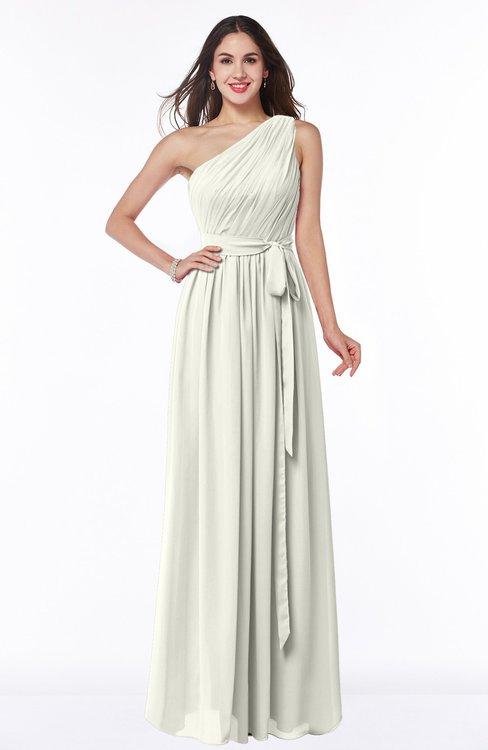 ColsBM Fiona Cream Classic A-line Asymmetric Neckline Chiffon Floor Length Sash Plus Size Bridesmaid Dresses