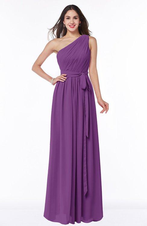 ColsBM Fiona Dahlia Classic A-line Asymmetric Neckline Chiffon Floor Length Sash Plus Size Bridesmaid Dresses