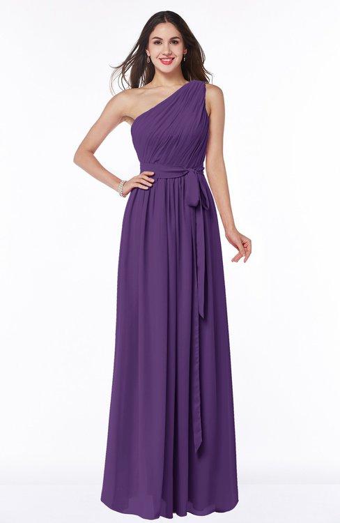 ColsBM Fiona Dark Purple Classic A-line Asymmetric Neckline Chiffon Floor Length Sash Plus Size Bridesmaid Dresses