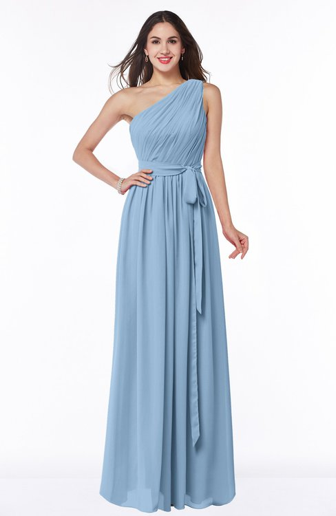 ColsBM Fiona Dusty Blue Classic A-line Asymmetric Neckline Chiffon Floor Length Sash Plus Size Bridesmaid Dresses