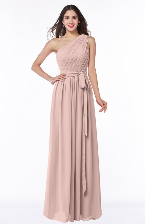 ColsBM Fiona Dusty Rose Classic A-line Asymmetric Neckline Chiffon Floor Length Sash Plus Size Bridesmaid Dresses