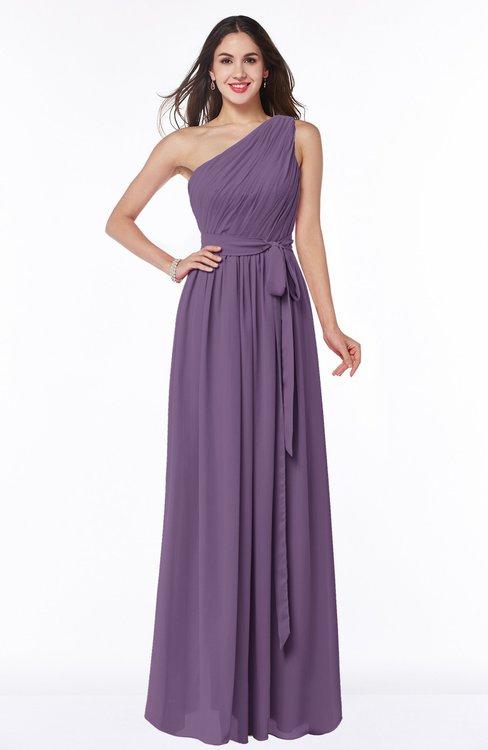 ColsBM Fiona Eggplant Classic A-line Asymmetric Neckline Chiffon Floor Length Sash Plus Size Bridesmaid Dresses