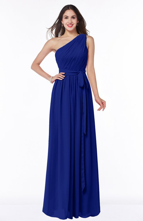 ColsBM Fiona Electric Blue Classic A-line Asymmetric Neckline Chiffon Floor Length Sash Plus Size Bridesmaid Dresses