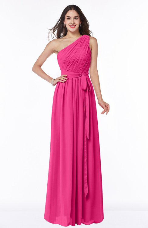 ColsBM Fiona Fandango Pink Classic A-line Asymmetric Neckline Chiffon Floor Length Sash Plus Size Bridesmaid Dresses