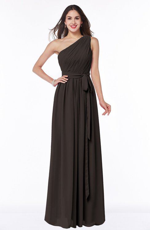 ColsBM Fiona Fudge Brown Classic A-line Asymmetric Neckline Chiffon Floor Length Sash Plus Size Bridesmaid Dresses