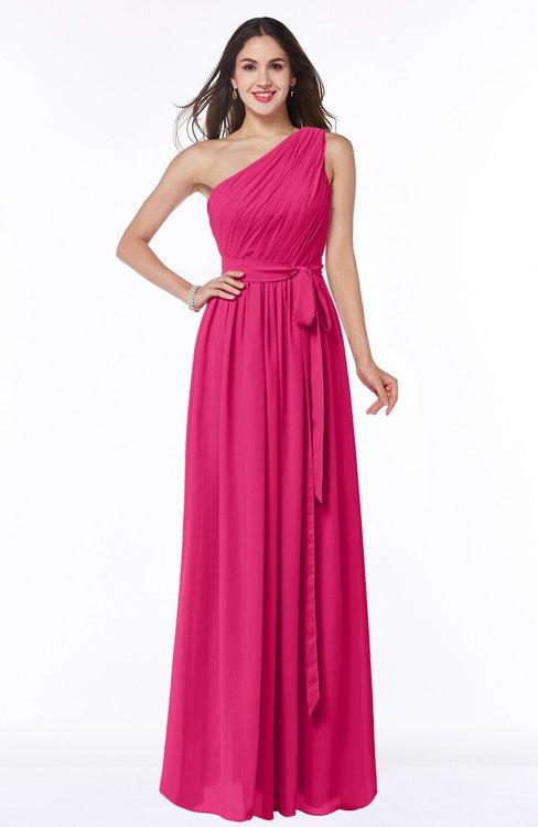 ColsBM Fiona Fuschia Classic A-line Asymmetric Neckline Chiffon Floor Length Sash Plus Size Bridesmaid Dresses