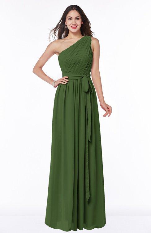 ColsBM Fiona Garden Green Classic A-line Asymmetric Neckline Chiffon Floor Length Sash Plus Size Bridesmaid Dresses