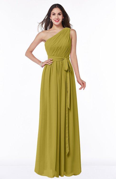 ColsBM Fiona Golden Olive Classic A-line Asymmetric Neckline Chiffon Floor Length Sash Plus Size Bridesmaid Dresses