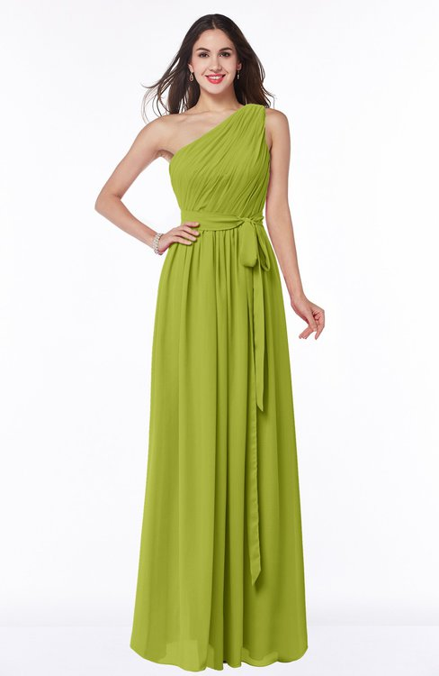 ColsBM Fiona Green Oasis Classic A-line Asymmetric Neckline Chiffon Floor Length Sash Plus Size Bridesmaid Dresses