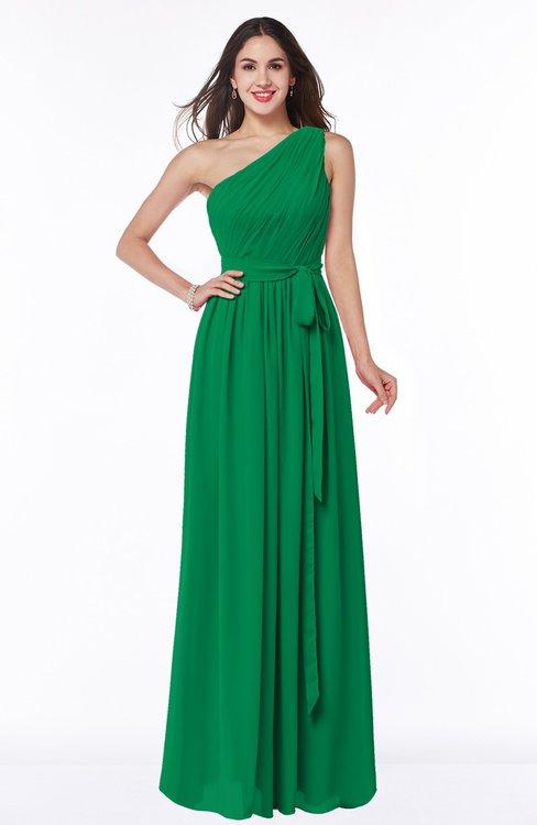 ColsBM Fiona Green Classic A-line Asymmetric Neckline Chiffon Floor Length Sash Plus Size Bridesmaid Dresses