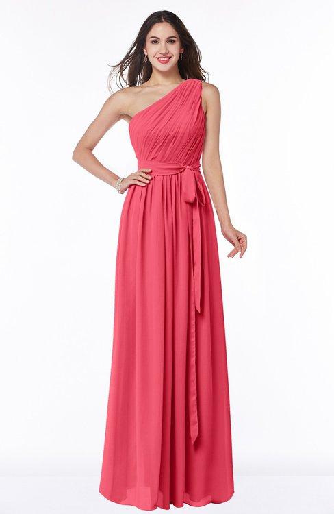 ColsBM Fiona Guava Classic A-line Asymmetric Neckline Chiffon Floor Length Sash Plus Size Bridesmaid Dresses