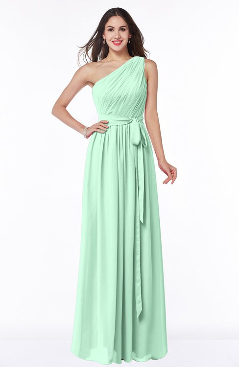 ColsBM Fiona Honeydew Classic A-line Asymmetric Neckline Chiffon Floor Length Sash Plus Size Bridesmaid Dresses