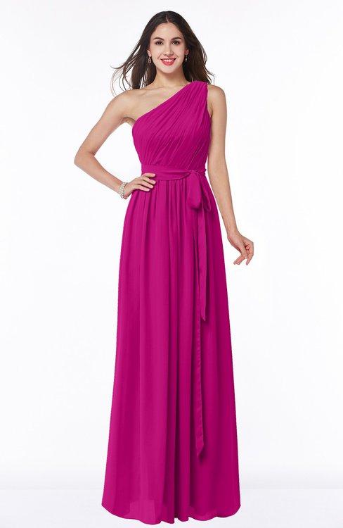 ColsBM Fiona Hot Pink Classic A-line Asymmetric Neckline Chiffon Floor Length Sash Plus Size Bridesmaid Dresses